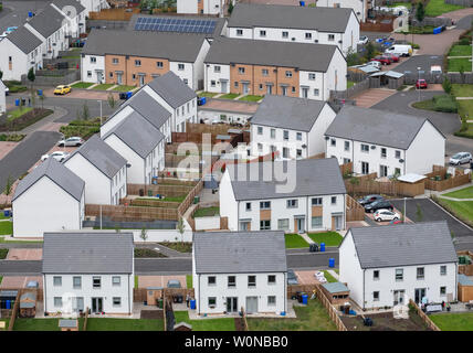 Elevated view of new houses in Raploch district of Stirling , Scotland, UK - Stock Photo