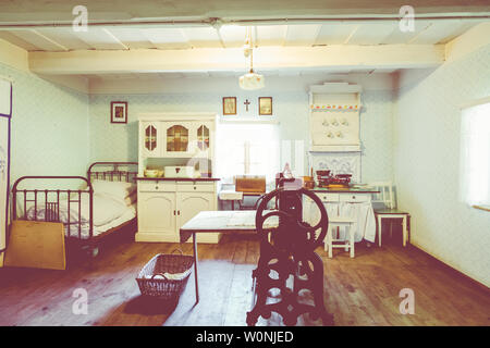 CHORZOW, POLAND - JUNE 27, 2019: Open-air museum in Chorzów. Interior of wooden cottage in heritage park. Upper Silesian Ethnographic Park in Chorzów. - Stock Photo
