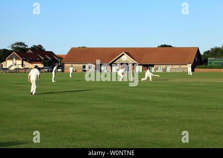 Village Cricket, match, game, sport, Thornham, Norfolk, UK - Stock Photo