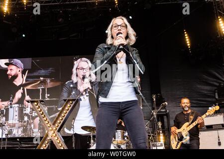 Kiel, Germany - June 16, 2018: Stefanie Heinemann is performing in the Rathaustage during Kiel Week 2018 - Stock Photo