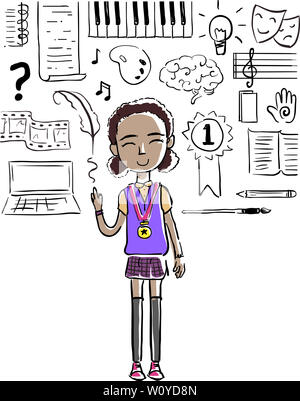 Illustration of a Kid Girl Wearing a Medal with Humanities Focus Doodles from Piano to Quill to Artist Palette - Stock Photo