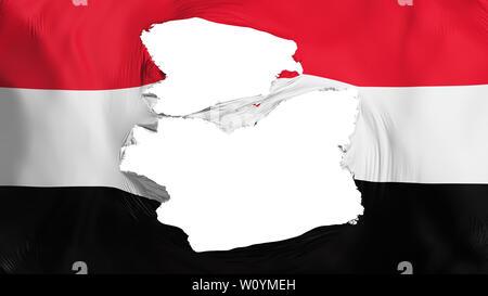 Tattered Yemen flag, white background, 3d rendering - Stock Photo