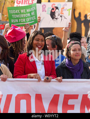 San Francisco, CA - January 19, 2019: Mayor London Breed with unidentified participants in the Women's March. This year's theme is Truth To Power and - Stock Photo