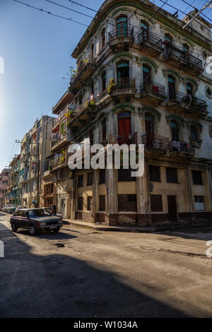 Havana, Cuba - May 13, 2019: Street view of the Old Havana City, Capital of Cuba, during a bright and sunny morning. - Stock Photo