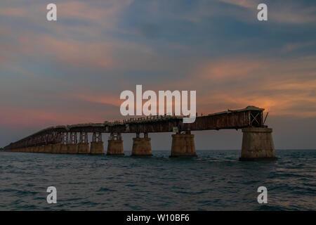 Bahia Honda Rail Bridge at sunset, Florida Keys, Florida, USA - Stock Photo