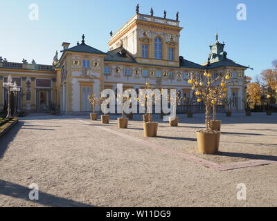 Main courtyard and exterior of palace in european Warsaw capital city of Poland in 2018 on October - Stock Photo