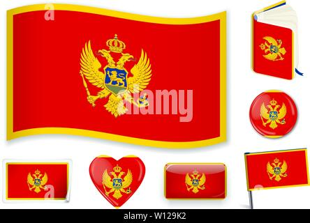 Montenegro. Montenegrin national flag in wave, book, circle, pin, button heart and sticker shapes - Stock Photo