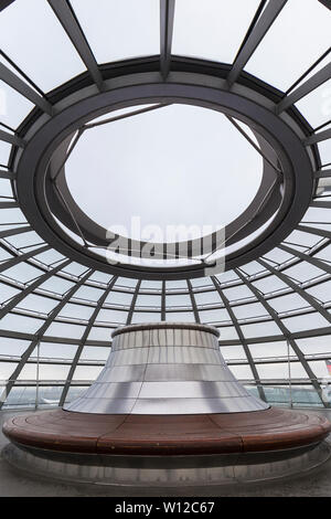 Empty top at the futuristic glass dome at the Reichstag (German parliament) building in Berlin, Germany. It was designed by architect Norman Foster. - Stock Photo