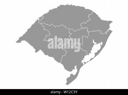 A gray map of the Rio Grande do Sul State regions, Brazil - Stock Photo