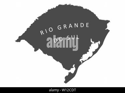 Illustration of the Rio Grande do Sul State silhouette map, Brazil - Stock Photo