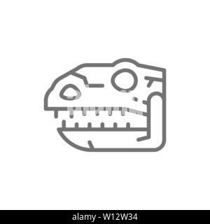 Tyrannosaurus skull, t-rex head, dinosaur bones, prehistoric time line icon. - Stock Photo