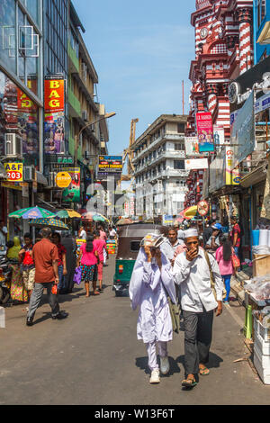 Colombo. Sri Lanka - December 21st 2016: Busy shopping street in the Pettah district. This is the main commercial area. - Stock Photo