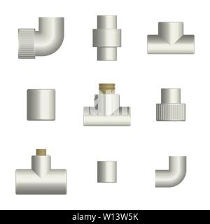 Set of various fittings and connections for plastic pipes, isolated on white background. Front view, vector illustration. - Stock Photo