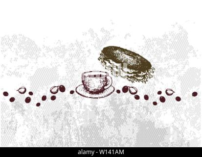 Insert Coffee to Begin, Illustration Hand Drawn Sketch of A Cup and Coffee Glass Pot with Homemade Freshly Baguette Sandwich - Stock Photo