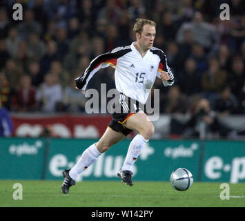 Rhein-Energie-Stadion Cologne Germany, 31.3.2004, Football: International friendly, Germany (white) vs. Belgium (red) 3:0 --- Fabian Ernst (GER) - Stock Photo
