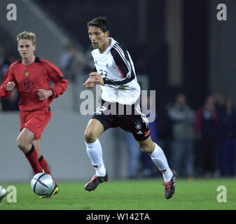 Rhein-Energie-Stadion Cologne Germany, 31.3.2004, Football: International friendly, Germany (white) vs. Belgium (red) 3:0 --- Kevin KURANYI (GER) - Stock Photo