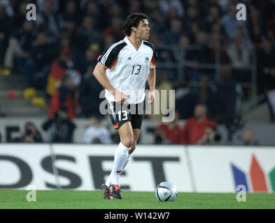 Rhein-Energie-Stadion Cologne Germany, 31.3.2004, Football: International friendly, Germany (white) vs. Belgium (red) 3:0 --- Michael BALLACK (GER) - Stock Photo