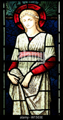 St Margaret Stained Glass Window at the Church of St Mary and All Saints, Conwy, Wales - Stock Photo