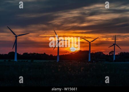 four wind turbines on a field against a golden sunset with a sky on fire in the background - Stock Photo