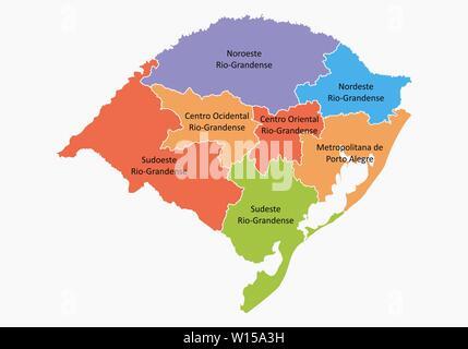 A colorful map of the Rio Grande do Sul State regions, Brazil - Stock Photo