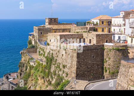 Pizzo, Italy - September 10, 2016: View of Castello Murat, built by the Aragonese in the 15th century, in which Joachim Murat, ex-king of Naples, was - Stock Photo