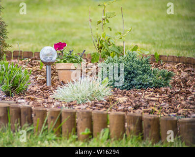 Flower bed with different flowers covered with bark mulch in summer. Solar lamp in the center. - Stock Photo