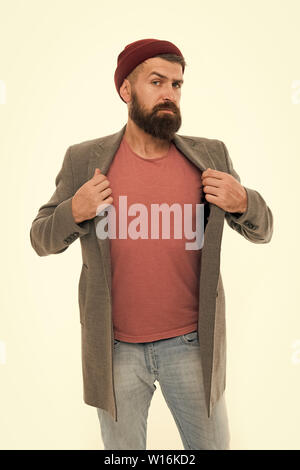 Male barber care. Bearded man. serious man isolated on white. Fashion man with beard. Mature hipster with beard. brutal caucasian hipster with moustache. Confident and handsome - Stock Photo