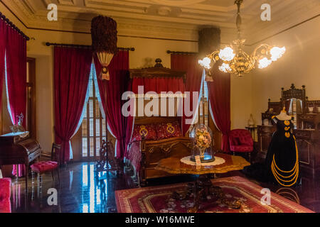 Interior of the Iolani Royal Palace in Honolulu, Oahu, Hawaii, Queen's bedroom - Stock Photo