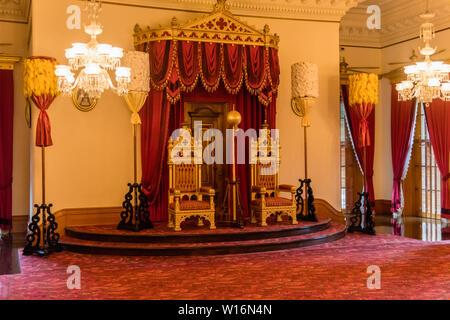 Interior of the Iolani Royal Palace in Honolulu, Oahu, Hawaii, Throne Room - Stock Photo