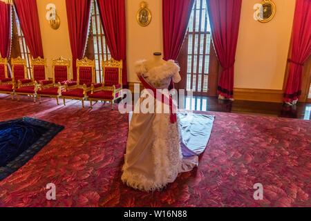 Interior of the Iolani Royal Palace in Honolulu, Oahu, Hawaii, Throne Room, white dress - Stock Photo