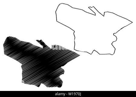 Shymkent city (Republic of Kazakhstan, Regions of Kazakhstan) map vector illustration, scribble sketch Shymkent map - Stock Photo