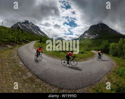 Female cyclist on private toll road through Vengedalen, close to Andalsnes, Norway. - Stock Photo