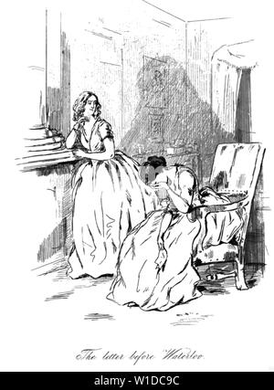 WILLIAM MAKEPEACE THACKERAY (1811-1863) British novelist. One of his engravings for Vanity Fair. - Stock Photo