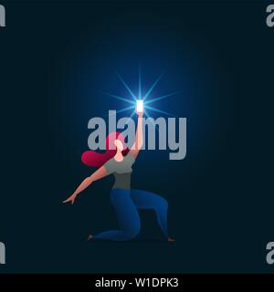 Beautiful girl holds up a shimmering phone. Woman is holding the phone above. Vector concept illustration. - Stock Photo