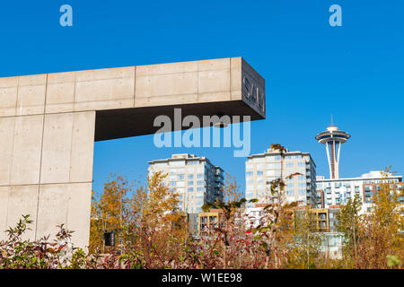 Space Needle from Olympic Sculpture Park, Seattle, Washington State, United States of America, North America - Stock Photo
