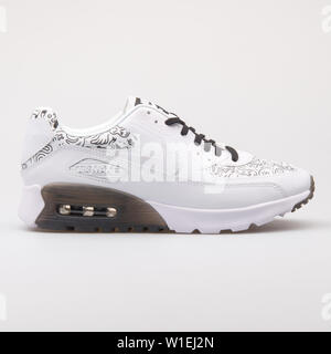 VIENNA, AUSTRIA - AUGUST 23, 2017: Nike Air Max 90 Ultra Print white and black sneaker on white background. - Stock Photo