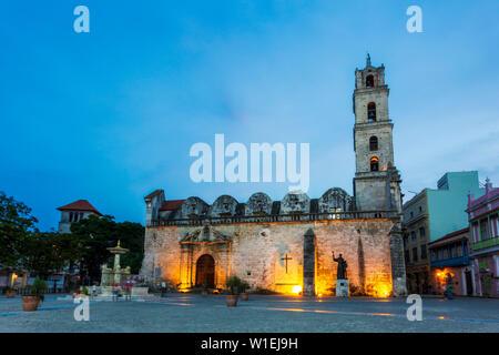 Convento de San Francisco de Asis at night, La Habana Vieja, UNESCO, Old Havana, La Habana (Havana), Cuba, West Indies, Caribbean, Central America - Stock Photo