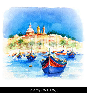 Watercolor sketch of traditional eyed colorful boats Luzzu and church in the Harbor of Mediterranean fishing village Marsaxlokk, Malta - Stock Photo