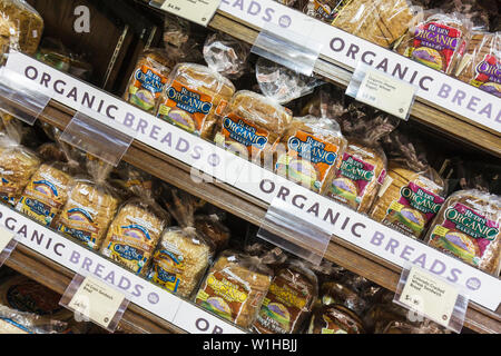 Miami Beach Florida Whole Foods Market company business grocery natural organic bread whole grain Rudi's Organic Bakery brand sh - Stock Photo