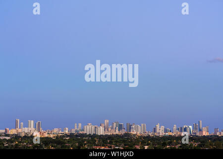 Miami Florida canal downtown skyline buildings dusk panoramic - Stock Photo