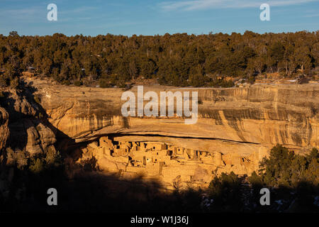 Late afternoon light in winter, Cliff Palace, Mesa Verde National Park, Colorado - Stock Photo