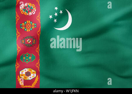 National Flag of Turkmenistan - Rectangular Shape patriotic symbol - Stock Photo