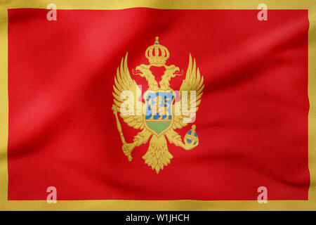 National Flag of Montenegro - Rectangular Shape patriotic symbol - Stock Photo