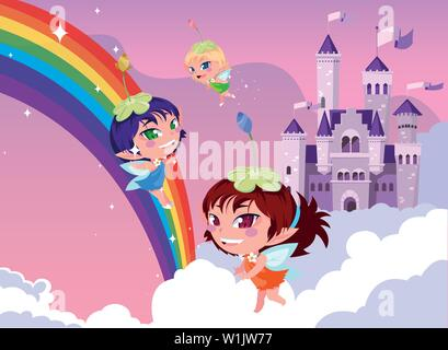 fairies with castle fairytale in the sky with clouds vector illustration design - Stock Photo