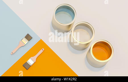 3d image render of color cans and brush on geometric background in flat lay style. - Stock Photo