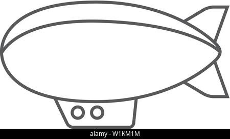 Airship icon in thin outline style. Hot air balloon zeppelin - Stock Photo