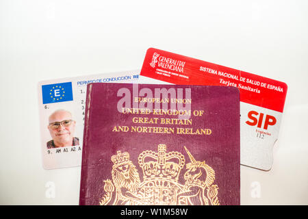 Driving licence, Passport and Health card - Stock Photo