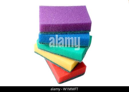 multi-colored sponges isolated on white background - Stock Photo
