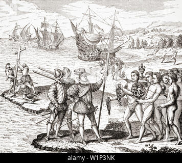 Discovery of America, 12th of May,1492. Columbus erects the Cross and baptizes the Isle of Guanahami, now Cat Island,one of the Bahamas, by the Christian name of St. Salvador. From an engraving on copper by Theodor de Bry in the collection Grands Voyages printed 1590 - Stock Photo