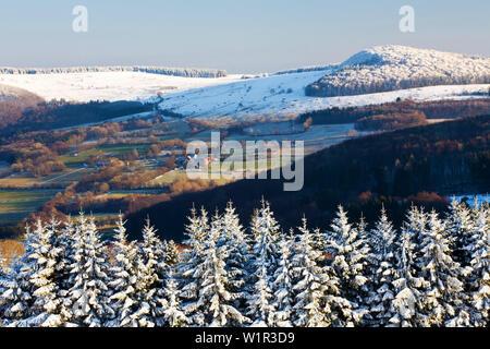 View from the peak of Schafstein to Weiherhof, Rhoen Biosphere Reserve, Hessian Rhoen Nature Park, Bavaria, Germany - Stock Photo